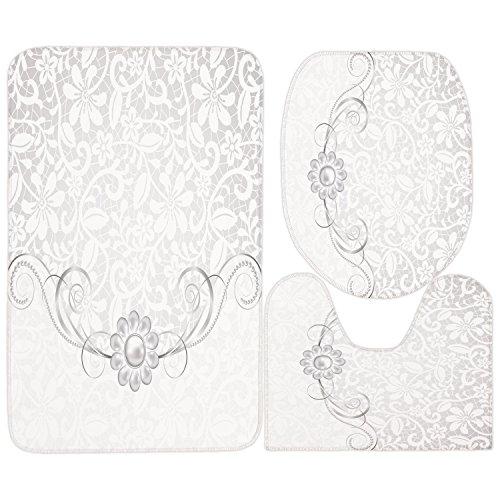 3 Piece Bathroom Mat Set,Silver,Lace Inspired Flourish Motifs Background with Bridal Flower Border Wedding Theme,Silver White,Bath Mat,Bathroom Carpet Rug,Non-Slip (Wedding Borders Flower)