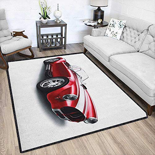 Cars Super Modern Area Rug,Old-Fashioned Vintage Coupe Car Automobile Illustration with Digital Smooth Color Effects No Chemical Odor Red 79
