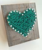 Sweet and small rustic Kelly green string art wooden heart block for Father's Day - A unique gift for Baby Boys, Weddings, Anniversaries, Easter baskets, Birthdays, Valentine's Day and Christmas.