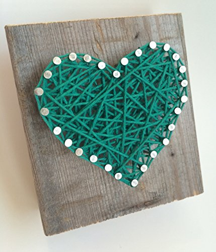 Sweet and small rustic Kelly green string art wooden heart block for Father's Day - A unique gift for Baby Boys, Weddings, Anniversaries, St. Patrick's Day, Birthdays, Valentine's Day and Christmas.