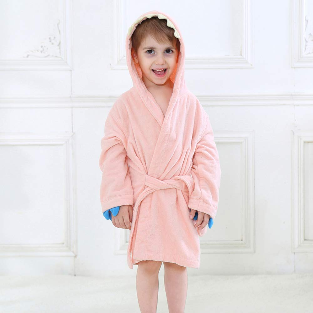 cf8692b9 ... Boys Girls Toddler Robe, Kids Hooded Cotton Terry Cloth Bathrobe, Animal  Dinosaur Pajamas Sleepwear ...