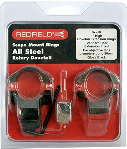 Redfield 1-Inch Rotary Dovetail High Steel Rings (Standard Rear/Ext Front), Black Gloss (Steel Gloss Ring)