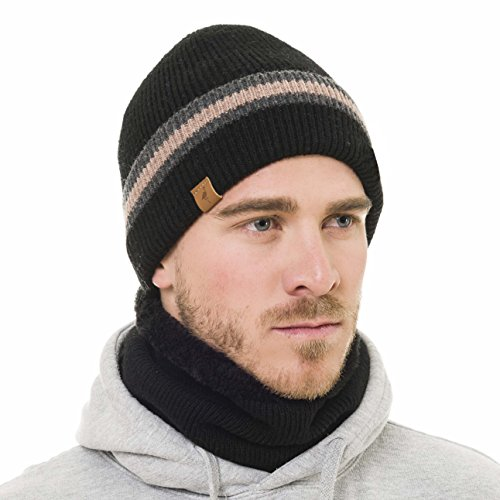 Beanie Neck Warmer Set With Wool Fleece Fur Scarf Gaitor Black Beige Skull Cap Knit Hat Ski (Black) Designed Beanie
