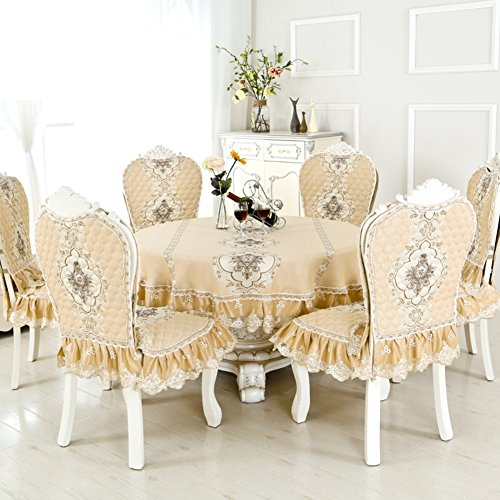 Round Table Cloth Chair Cover European Style Home Round Dining Cushion Set Tea Table Cloth Dining Table And Chair Sets Fabric Package L 150x150cm 59x59inch Buy Online In Dominica At Dominica Desertcart Com Productid 85806267