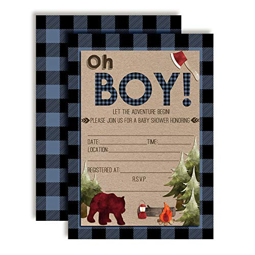 Oh Boy! Outdoorsy Blue and Black Plaid Lumberjack Baby Boy Sprinkle Shower Invitations, 20 5