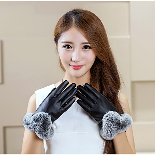 Generic Women's_ leather glove gloves women girls cute autumn winter _Artificial_rabbit_hair, warm_thick_wool_inside cycling_windproof_ glove gloves