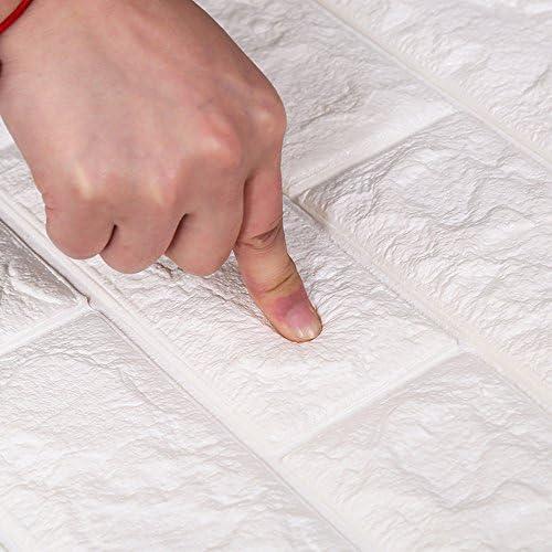 FOWOS 3D立体壁紙 DIYレンガ調壁紙シール 70x77cm ウォールステッカー 軽量レンガシール 壁紙シール 自己粘着 防水 多色選択 (厚い) (お得12枚セット, ベージュ)