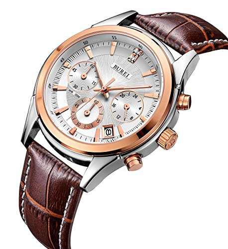 BUREI Mens Business Casual Elegant Chronograph Sports Watch with Genuine Leather/Stainless Steel Band