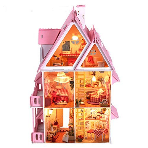 [OK59 DIY plan toys dollhouse furniture furnished townhouse Wood Dream With Light Miniature majestic mansion Christmas Gift Birthday Gift] (Cat Burglar Costume Diy)