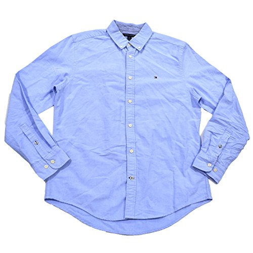 Tommy Hilfiger Men's Long Sleeve Button Down Oxford Shirt in Custom Fit, Collection Blue - Tommy Shirt Oxford Hilfiger