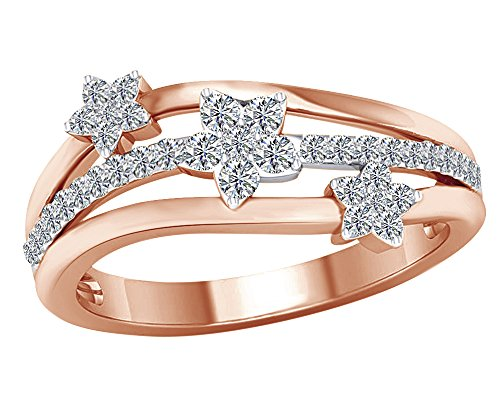 - Round Cut Natural Diamond Triple Star Flower Wave Band Ring in 10K Solid Gold (1/3 Cttw)