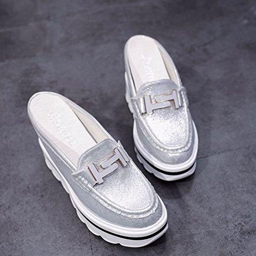 Diapositives Platform Casual Sandals Talon Mode Chaussures Chunky Fermer Wedges Blanc Toe Caché Argent Féminine wxFz4P