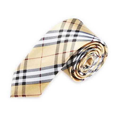 Men Slim Narrow Tie - TOOGOO(R)Men Fashion Casual Skinny Slim Narrow Tie Formal Wedding Party Necktie, #9 (Gold+White Plaid stripes)