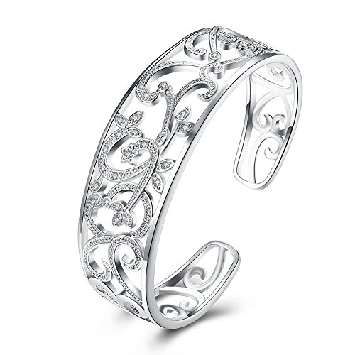 JHWZAIY 925 Sterling Silver Hollow Cuff Bracelets for Women (02) ()