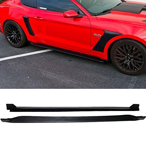 Mustang Side Skirts - Side Skirts Fits 2015-2018 Ford Mustang | 2 Fin Style Black PP Sideskirt Rocker Moulding Air Dam Chin Diffuser Bumper Lip Splitter by IKON MOTORSPORTS| 2016 2017