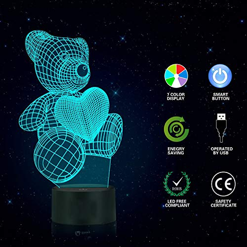 3D Illusion Night Light Teddy Bear, 3D Lamp Optical Nightlights Smart Touch Bedside Lamp, 7 Colors Changing LED Lamps, Great Gift for Birthday and Perfect for Children and Adults