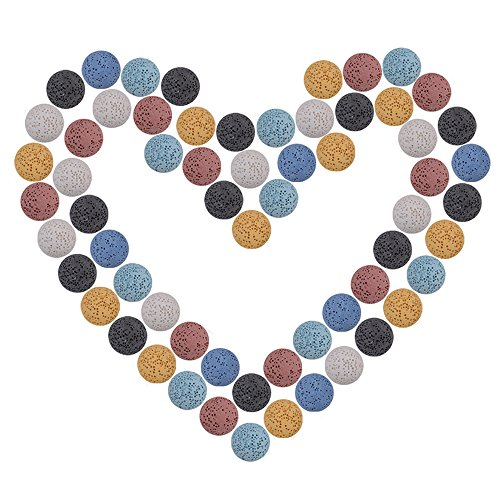 17 Mm Stone (40Pcs Aromatherapy Diffuser Lava Stone Rock Beads 17mm Multi-colored Washable Round Natural Ball for Essential Oil pendant Necklace Jewelry Making Findings Accessories)