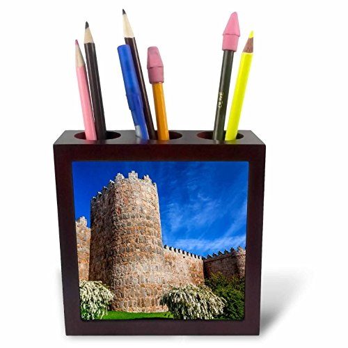 3dRose Danita Delimont - Architecture - Outer walls surroud the city of Avila, Castile, Spain. - 5 inch tile pen holder (ph_257892_1) by 3dRose