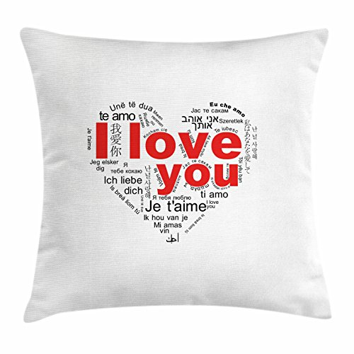 Love Throw Pillow Cushion Cover by Ambesonne, Expressions from Various Languages Te Amo Je T'aime Te Amo Ich Liebe Dich Heart, Decorative Square Accent Pillow Case, 36 X 36 Inches, - Fashion Del Amo Square