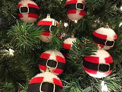 Santa Belt Flocked Ball Ornaments Christmas Tree Home Decoration 12 count