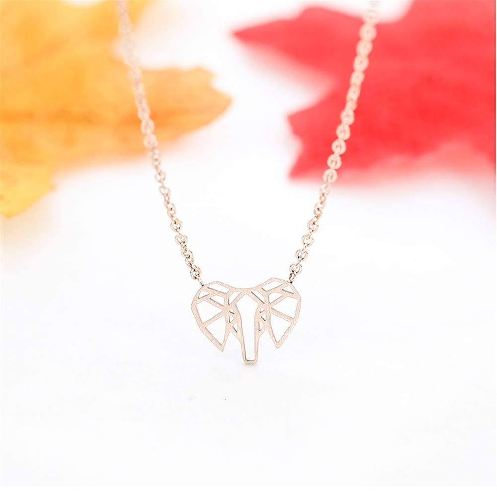 Aineecy Good Luck Lucky Necklace Adjustable Cute Small Animal Hollow Elephant Head Pendant Clavicle Chain Necklace for Women Sister Teen Girls Jewelry