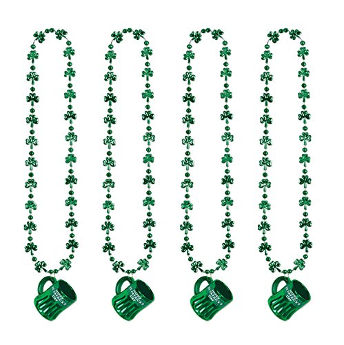 (Beistle S30599AZ4, 4 Piece Shamrock Beads with Happy St Pat's Mug, 33'', 0.75 Ounces (Green))