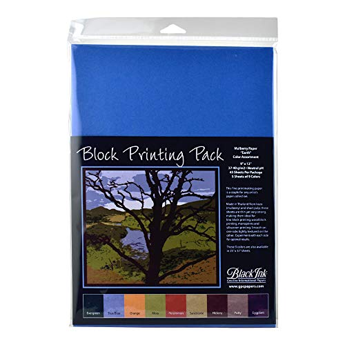 Black Ink, Block Printing Pack, Mulberry Paper Earth Color Assortment, 45 Sheets, 9x12 Inches, AP-204
