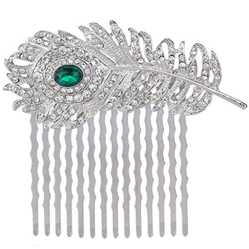 (EVER FAITH Silver-Tone Austrian Crystal Elegant Peacock Feather Bridal Hair Side Comb Green)