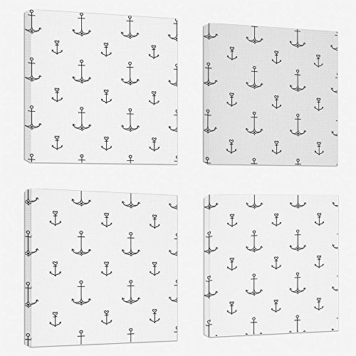 4pcs/set Modern Painting Canvas Prints Wall Art For Home Decoration Anchor Print On Canvas Giclee Artwork For Wall DecorOld School Tattoo Style Hand Drawn Style Nautical Pattern Hipster Retro Art Desi