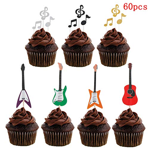- 60 Pcs Music Notes Cupcake Toppers Guitar Rock Cake Toppers for Party Birthday Wedding Decoration