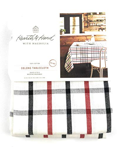 Hearth & Hand Plaid Tablecloth Black/Gray/Red, Oblong