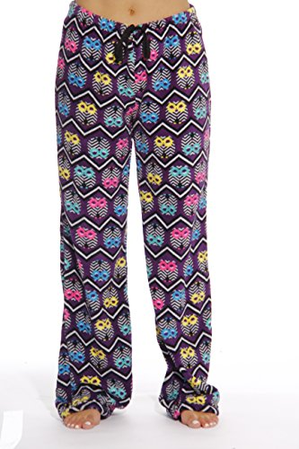 6339-10133-3X Just Love Women's Plush Pajama Pants - Petite to Plus Size Pajamas,Purple - Chevron Owl,3X Plus