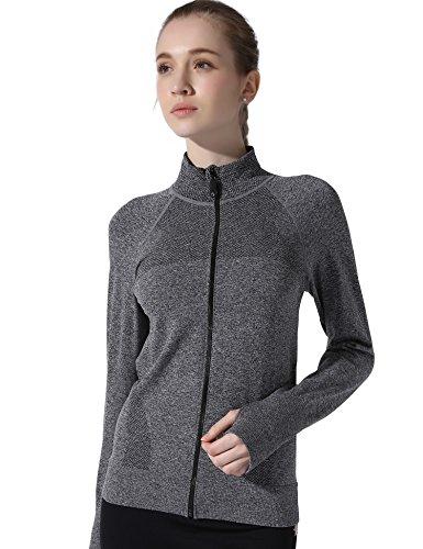 YOOY Women's Zipper Long-Sleeve Yoga Compression Sweatshirts Grey L