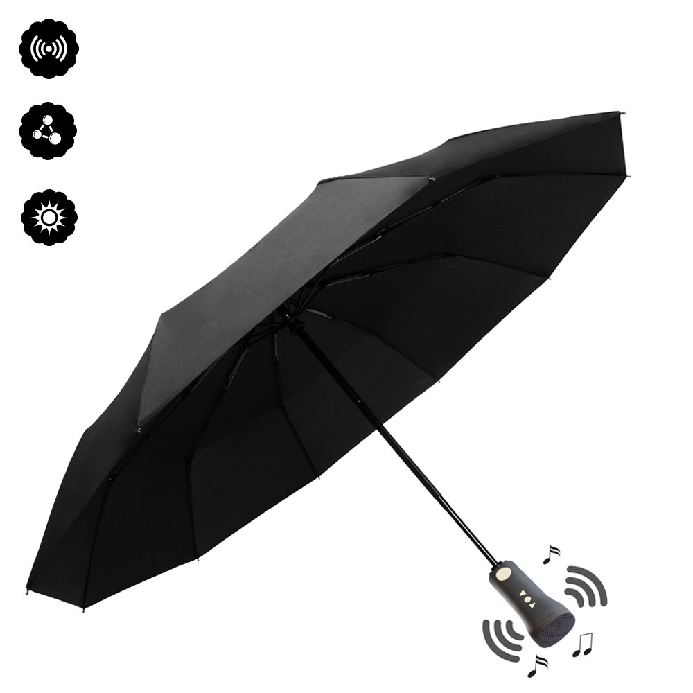 Zyan New Windproof Travel Umbrella with Bluetooth Speaker, Auto Open/Close, Waterproof, Anti-UV For Outdoor Use Black