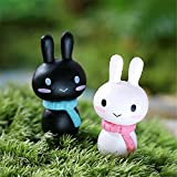 DIY Micro Landscape Assembled Ornament Couple Scarves Rabbit Decor