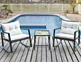 Leisure Zone Outdoor Patio 3 PCS Wicker Rocking Bistro Set Porch Deck Rockers with Coffee Table