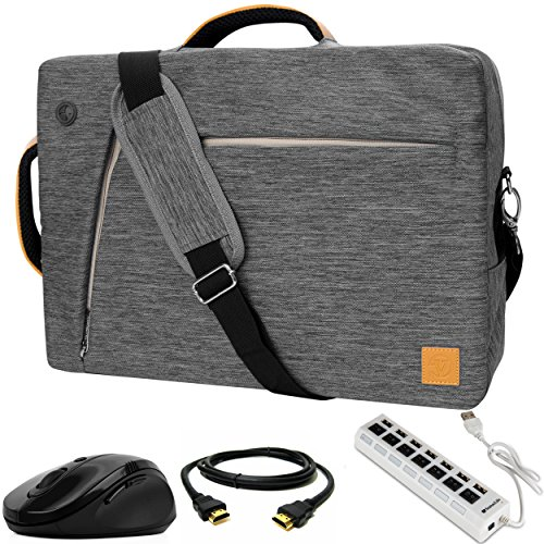 VanGoddy Slate 3-in-1 Gray Hybrid Laptop Bag w/USB Hub, Mouse, HDMI Cable for Dell Latitude/Inspiron / Precision Mobile Workstation/XPS / Vostro 14