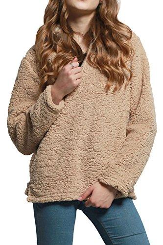 Zip De l'hiver Le Femmes Kaki Chaud Demi Pull Laine Pull Sweatershirt na1T6W