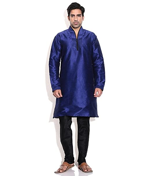 Hombres de seda mezcla azul hineck bordada Kurta Churidar azul azul 48