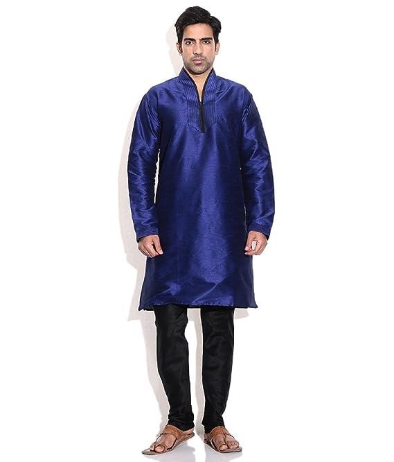 Hombres de seda mezcla azul hineck bordada Kurta Churidar: Amazon.es: Ropa y accesorios