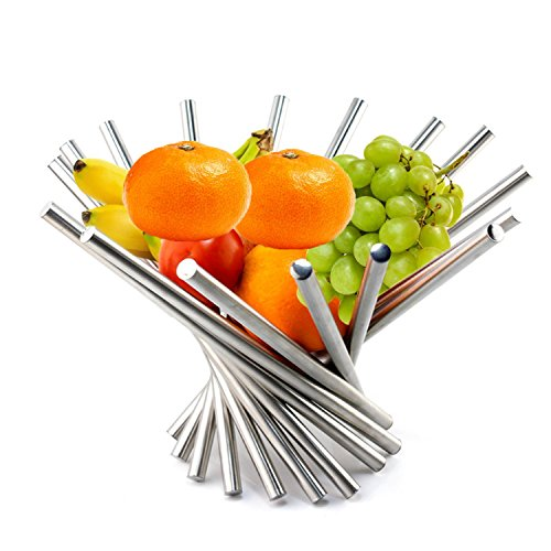 Portable Rotating Stainless Steel Fruit Bowl,Fruit Plate,Fruit Basket,Fruit Stand,Fruit Holder Silver