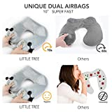 Travel Pillow Inflatable Set Fastest (10 sec) Dual Push-Button Inflatable Neck Pillow, 1Easylife - Little Tree Self Inflating Portable Neck Pillow with Ear Plugs, Eye Mask and Drawstring Bag, Gray