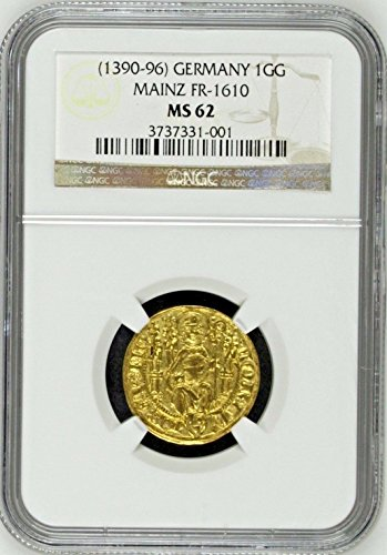 1390 DE Germany 1390-96 Gold Coin 1 Goldgulden Mainz Konr coin MS 62 NGC