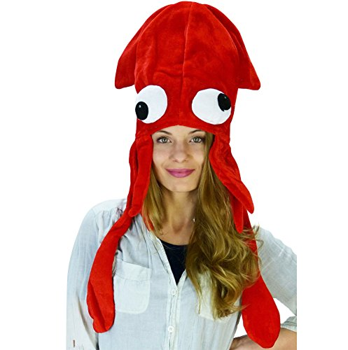 Funny Party Hats Squid Hat - Red Squid Hat - Octopus Hat - Funny Hats - Sea Animal Hats - Fish Hats -