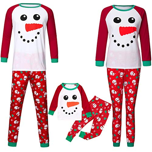 Family Matching Christmas Pajamas Set,Crytech Comfy Soft Cute Cartoon Snowman Snowflake Sleepshirt Top and Checkered Lounge Pant Parent Children Kid Xmas Holiday Sleepwear Pj Outfit (1-2 Years, Kid)