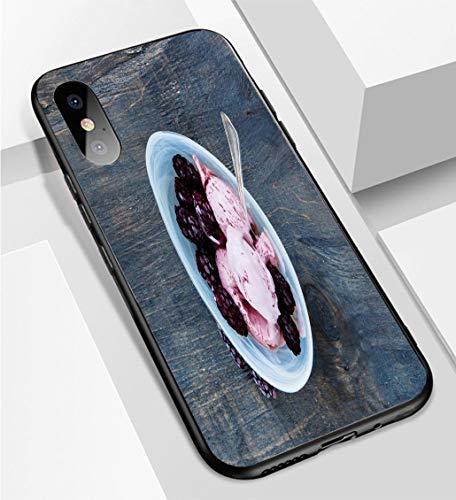 iPhone X/XS Ultra-Thin Phone case Homemade BlackBerry ice Cream Anti-Drop Anti-Slip Soft Convenient Protective -