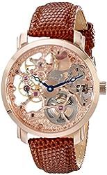 Akribos XXIV Men's AK406RG Bravura Davinci Mechanical Rose Gold-Tone Watch with Brown Leather Band