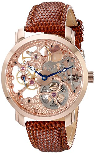Akribos XXIV Men's AK406RG Bravura Davinci Mechanical Rose Gold-Tone Watch with Brown Leather Band
