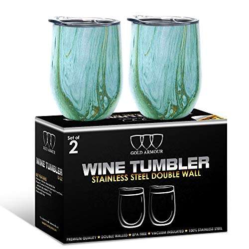 2Pack Stainless Steel Stemless Wine Glass Tumbler with Lid, 12 oz | Double Wall Vacuum Insulated Travel Tumbler Cup – Sweat Free, Unbreakable, BPA Free (Seafoam Pattern)