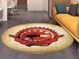 Movie Theater Round Area Rug Carpet Old Movie Camera Surrounded by Stars on Grungy Background Living Dining Room Bedroom Hallway Office Carpet Pale Brown Vermilion Black